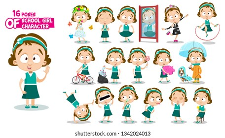 Brunette schoolgirl in green dress. Full length front, three quarter view. Girl in different poses and situations: does sport, savings, plays, prays, walks. Ready to use cartoon set on white.