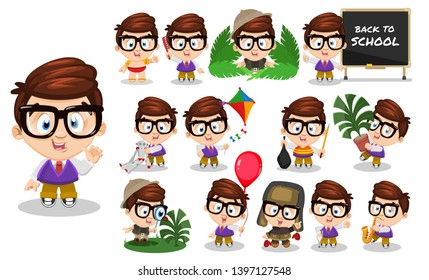 Brunette spectacled boy in school uniform. Kid in different poses and situations: combs, plays, learns. Full length front and three quater view. Ready to use cartoon vector set isolated on white.