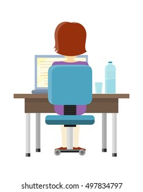 Brunette woman sitting at a desk and working on the computer, back view. Workplace, make money online, e-business, e-learning, concept. Woman working on laptop computer. Vector illustration in flat.