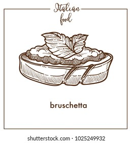 Bruschetta snack sketch vector icon for Italian cuisine food menu design