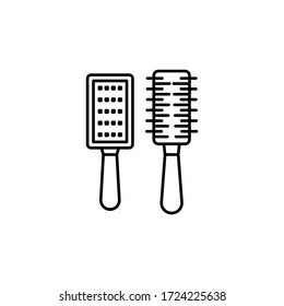 brush , barber shop line illustration icon on white background