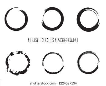 Brush Black Circles Vector Set. Stroke Grunge Hand Paint Round Shapes Collection. Zen Symbolic Circles Enso Set.