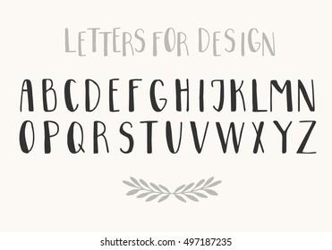 Brush black font isolated on background. Vector latin script alphabet. Letters for design.