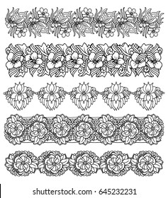 Brush border set with flower bouquet design, elegant print for fabric, wallpaper, gift wrap, vector handdrawn illustration isolated on white background