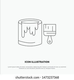 Brush, Bucket, Paint, Painting Line Icon Vector