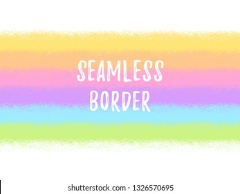 Brush, chalk drawn striped rainbow colors background, border, frame seamless in horizontal direction. Textured wide stripes, parallel streaks, bars with rough, uneven edge. Colorful banner template.