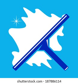 brush cleaning windows sign branding corporate logo isolated on blue background