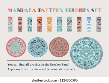 Brush collection of borders for mandala or frame design. Vector pattern brushes set. Arabic decorative elements