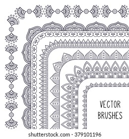 Brush collection. Ethnic decorative elements. Hand drawn background. Islam, Arabic, Indian, ottoman motifs.