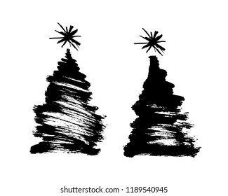 Brush drawing of a Christmas tree. Vector illustration