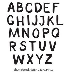brush drawn doodle alphabet, vector