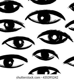 Brush drawn eyes seamless vector pattern. Rough edges. Hand drawn surreal background. Stylized hand drawn uneven eyes, eyeballs texture. Ink illustration.