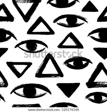 Brush Drawn Eyes Triangles Seamless Vector Stock Vector Royalty