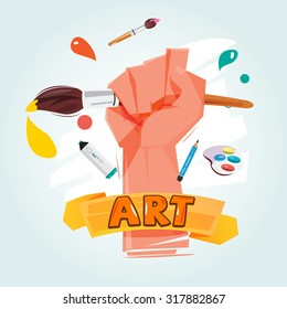 brush in fist hand. power of art concept. typographic design - vector illustration