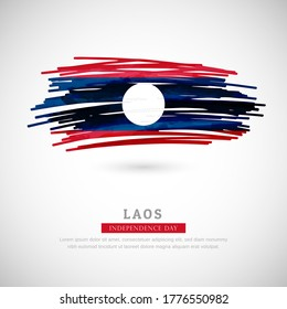 Brush flag of Laos country. Happy independence day of Laos with grungy flag background