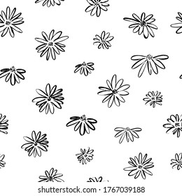 Brush flower vector seamless pattern. Hand drawn botanical ink illustration with floral motif. Camomile or daisy painted by brush. Hand drawn black print for fabric, wrapping paper, wallpaper design