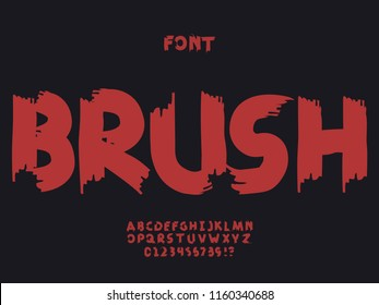 Brush font. Vector alphabet letters and numbers. Typeface design.