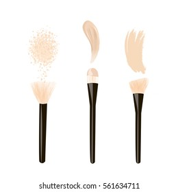 Brush for foundation brush for powder, rouge and brush stroke with face cream and powder. Makeup brushes. Vector illustration. Isolated on white background. vector illustration