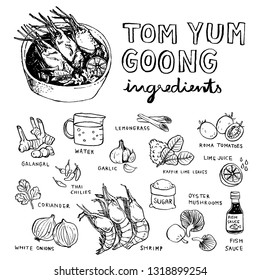 Brush hand drawn Thai food tom yum kung in bowl with ingredients