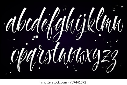Brush handwritten vector alphabet with blobs on black background. Modern calligraphy, lowercase letters. Vector illustration.