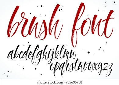 Brush handwritten vector alphabet. Modern calligraphy, lowercase letters. Vector illustration.