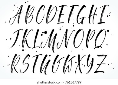 Brush handwritten vector alphabet. Modern calligraphy, uppercase letters. Vector illustration.