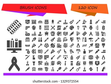 brush icon set. 120 filled brush icons.  Simple modern icons about  - Hair curler, Pliers, Graphic design, Photoshop, Brush, Eye shadow, Canvas, Paint tube, Glass cleaner, Makeup