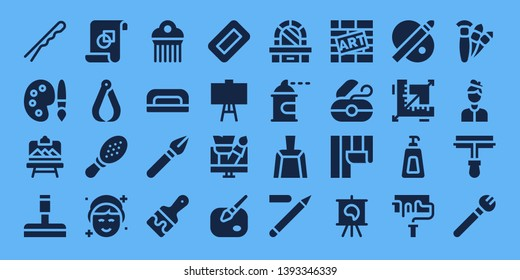 brush icon set. 32 filled brush icons. on blue background style Collection Of - Hairpin, Palette, Artboard, Glass cleaner, Graphic design, Pliers, Comb, Makeup, Nail dryer, Pen