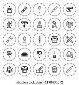 Brush icon set. collection of 25 outline brush icons with artist, broom, curling iron, curvature, dustpan, gun, graphic design, makeup, paint, pen icons. editable icons.