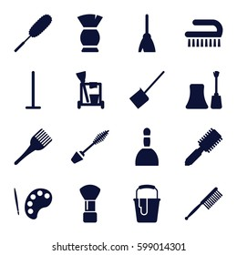 brush icons set. Set of 16 brush filled icons such as hair brush, spa bag, mascara, nail polish, cleaning tools, broom, mop, dustpan, paint bucket