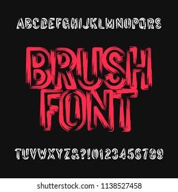 Brush lettering alphabet font. Uppercase brush stroke dirty grunge letters. Stock vector typeface.