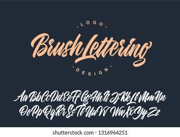 Brush lettering calligraphy font. Vector alphabet.