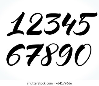 Brush lettering numbers. Modern calligraphy, handwritten letters. Vector illustration.