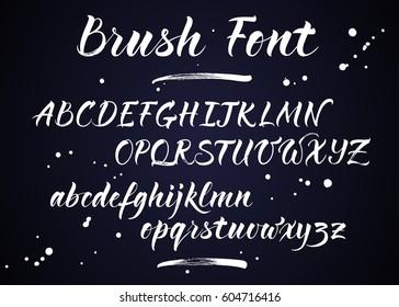 Brush lettering vector alphabet. Modern calligraphy, handwritten letters.