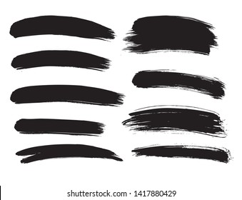 Brush lines set. Vector illustration