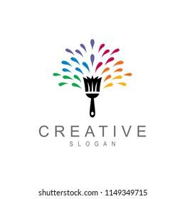 brush logos with colorful ink splashes, painting logo, artistic logo