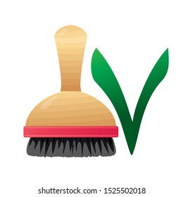Brush made of natural materials. Dishwashing wooden natural brush. Zero plastic. Zero waste. Sponge for dishes. The problem of environmental pollution. 1