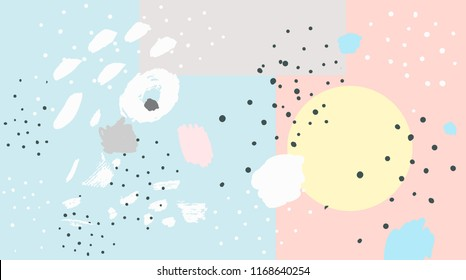 Brush, marker, highlight stroke pattern. Abstract background. Vector artwork. Memphis vintage, retro style. Children, kids sketch drawing. Pink, beige, blue, yellow, grey, black, white color