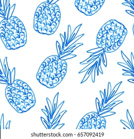 Brush paint doodle stylized blue pineapple seamless vector pattern for wallpaper, print, design. Hand drawn abstract sketched brush paint fruit illustration background for fabric, wrapping paper