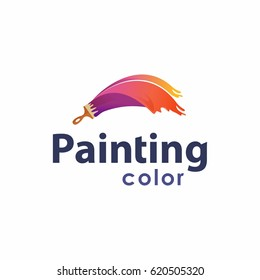 Brush and paint with full color with minimalist design style. Creative concept of paint design