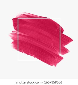 Brush painted acrylic abstract background illustration vector over square frame. Perfect watercolor design for headline, logo and sale banner.