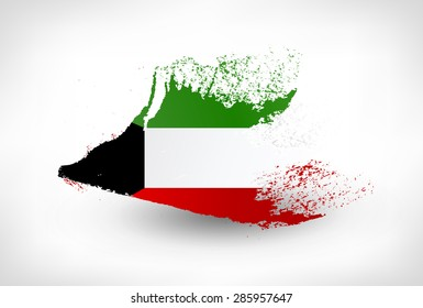 Brush painted flag of Kuwait. Hand drawn style illustration with a grunge effect.