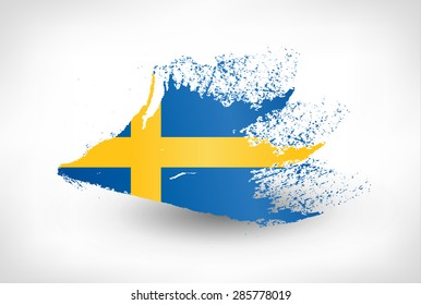 Brush painted flag of Sweden. Hand drawn style illustration with a grunge effect.
