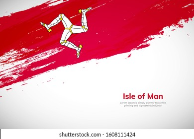 Brush painted grunge flag of Isle of Man country. Hand drawn flag style of Isle of Man. Creative brush stroke abstract concept brush flag background.
