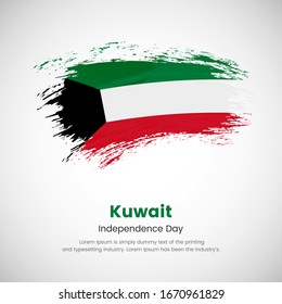 Brush painted grunge flag of Kuwait country. Independence day of Kuwait. Abstract creative painted grunge brush flag background.