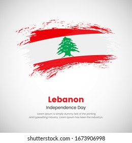Brush painted grunge flag of Lebanon country. Independence day of Lebanon. Abstract creative painted grunge brush flag background.