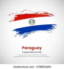 Brush painted grunge flag of Paraguay country. Independence day of Paraguay. Abstract painted grunge brush flag background.