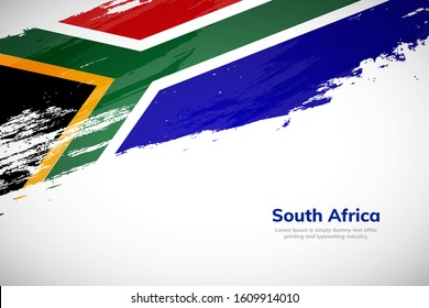 Brush painted grunge flag of South Africa country. Hand drawn flag style of South Africa. Creative brush stroke abstract concept brush flag background.