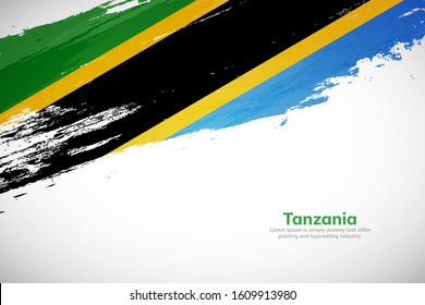 Brush painted grunge flag of Tanzania country. Hand drawn flag style of Tanzania. Creative brush stroke abstract concept brush flag background.