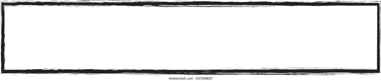 brush painted ink stamp banner frame on white background
